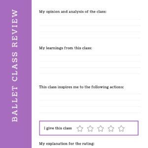 Ballet class review work sheet