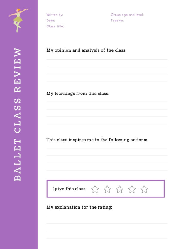 Ballet class review work sheet